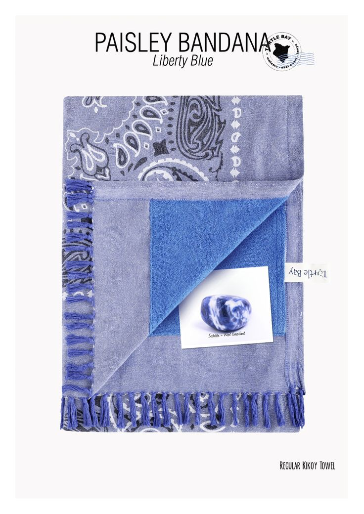 Printed Kikoy Paisley Bandana Liberty Blue