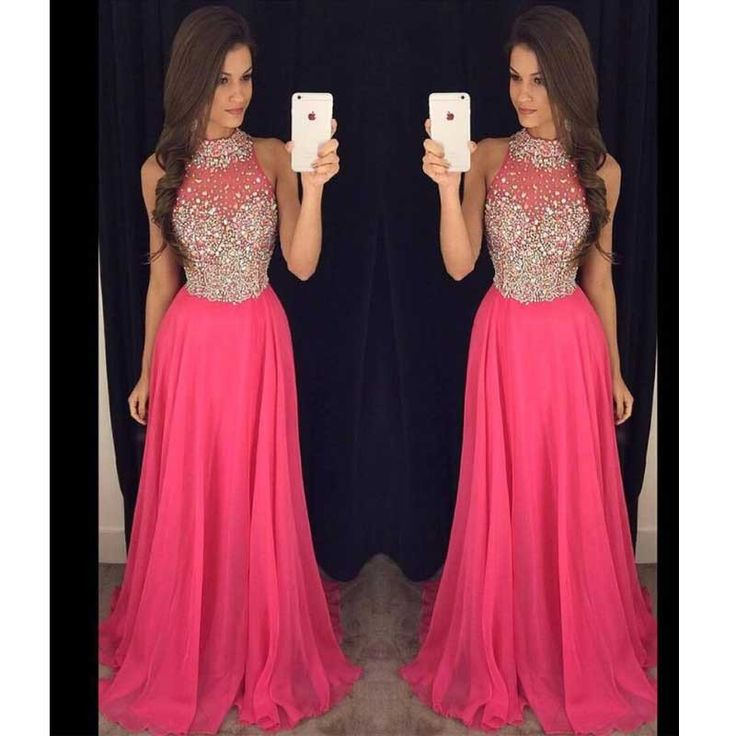 Hot Pink Halter Evening Prom Dresses, 2017 Long Beaded Prom Dress, Cus – SposaDesses