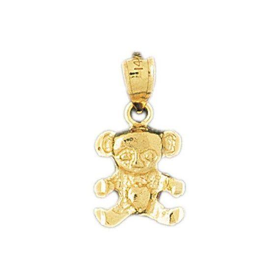 14k Solid Yellow Gold Teddy Bear Charm Animal Baby Bear Pendant