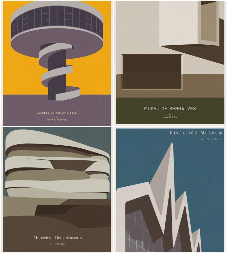 Major references of architecture in posters by portuguese architect André Chiote!