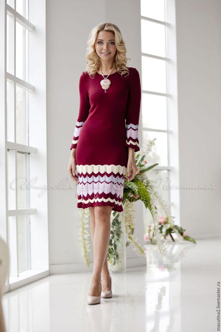 """Купить Платье """"Сицилийское вино"""" - бордовый, в полоску, бордовое платье, марсала, бордовый цвет"""