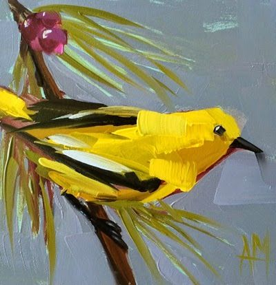 Angela Moulton - daily painting. http://angelamoulton.blogspot.com/2014/07/yellow-warbler-no-73-painting.html