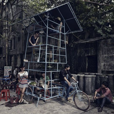 Tadioto: Swiss architecture firm Bureau A created a seven-storey mobile performance space and street kitchen, mounted it on a tricycle and rode it round the streets of Hanoi