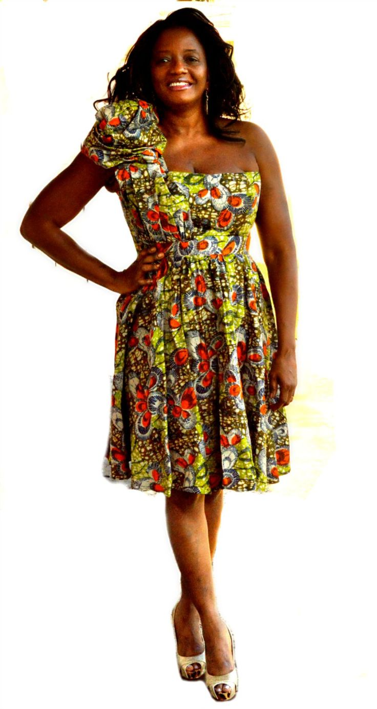 African Print one shoulder green mini dress design is beautifully illustrated in this green Ankara wax print - a very charming color and pattern combination that allows this dress to seamlessly transl