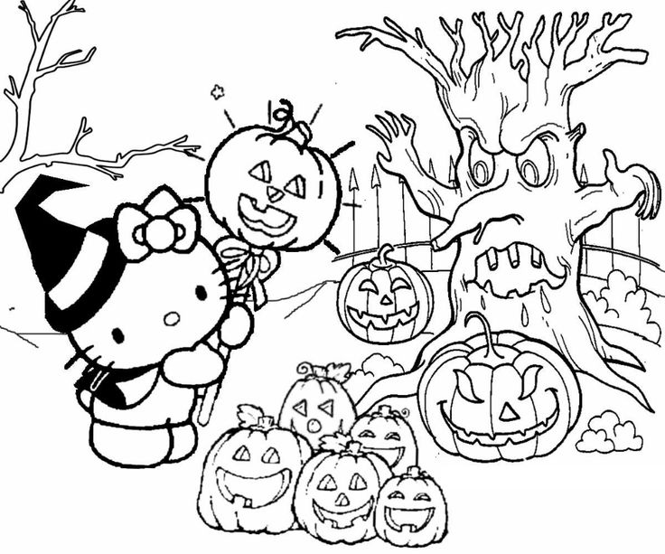 Hello Kitty Halloween Coloring Pages   Educative Printable ...