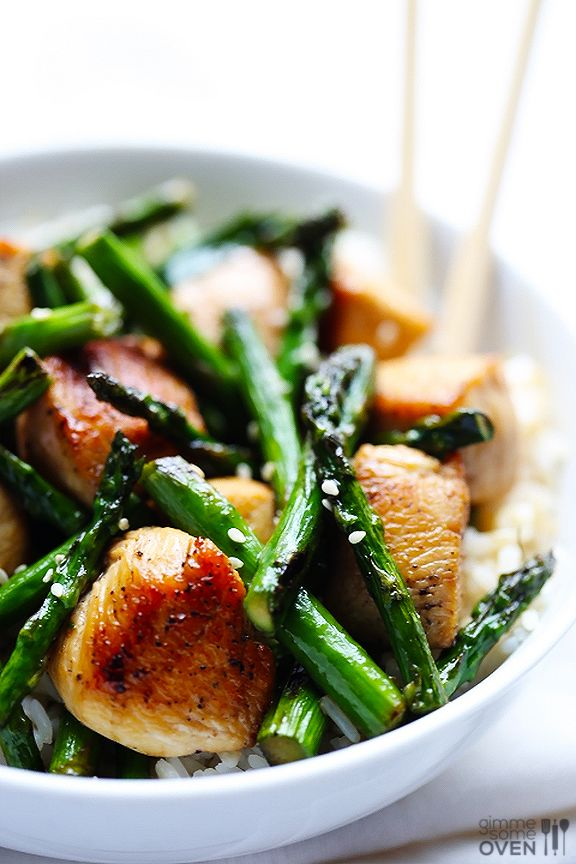 Chicken and Asparagus Stir-Fry -- a quick, easy and healthier dinner idea everyone will love! gimmesomeoven.com #dinner #recipe #chicken