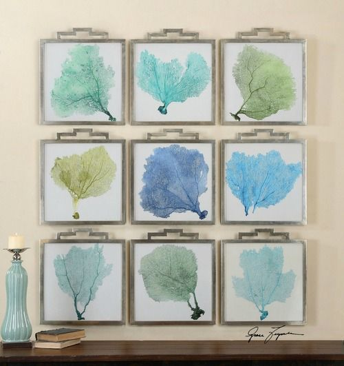 This beautiful grouping of nine, colorful sea fan art will create a unique gallery wall art statement for your beach house!