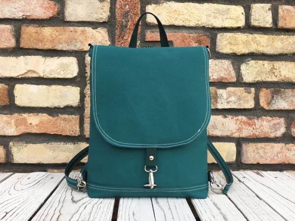 Handmade Vegan Backpack - Emerald Green