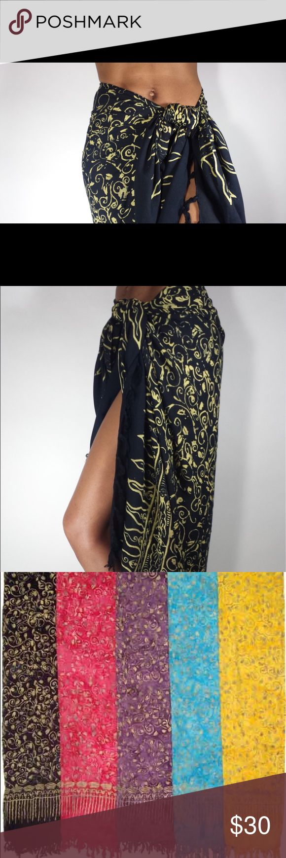 Sarongs, wraps, scarfs for Fall. *Swirl Sarongs These sarongs make beautiful cover ups, bikini wraps, scarfs for any weather, dresses, tops, head wraps, skirts, wrap pants, baby accessory or wrap.  Other uses: A layout for the beach, wall hangings,curtains, table cloths, a throw and chair covers  Details: 100% Rayon Machine Wash Cold  Wash Details: Sarongs wash easily by hand or machine. Strongly suggested to hang to dry for lifetime wear. Wash separately the first time or two.  *Black is…