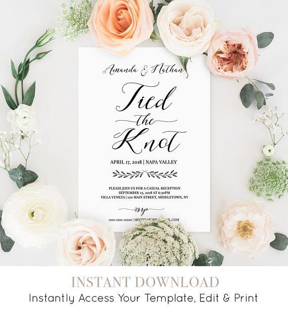 Eloped Announcement Printable Elopement Wedding Invitation