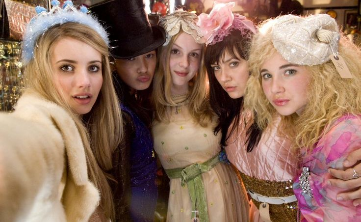 "Emma Roberts as Poppy (left), Sophie Wu as Kiki (second from left), Kimberley Nixon as Kate (middle), Linzey Cocker as Josie (second from right), Juno Temple as Drippy (right) in ""Wild Child"""
