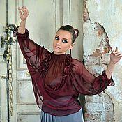 Одежда ручной работы. Ярмарка Мастеров - ручная работа 10% Блузка шелковая, эксклюзивная Фиолетовый закат. Handmade.