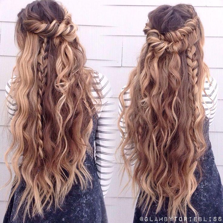 Boho mix of textured braids + beachy waves #glambytoriebliss