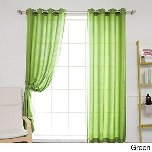 84 Inch Green Color Gazebo Curtains Set Pair Solid