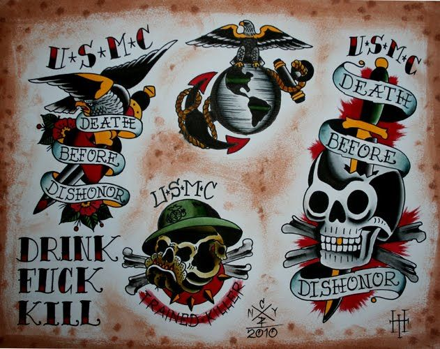 old school marine corps tattoos - Google Search