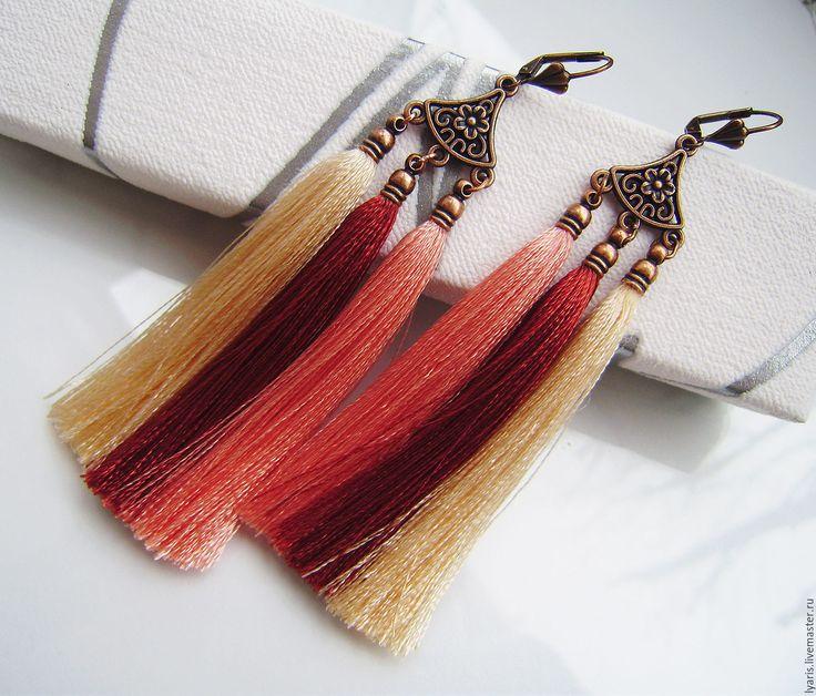 Купить Серьги кисти шелковые Сомали, длинные серьги кисточки из ниток - серьги кисти