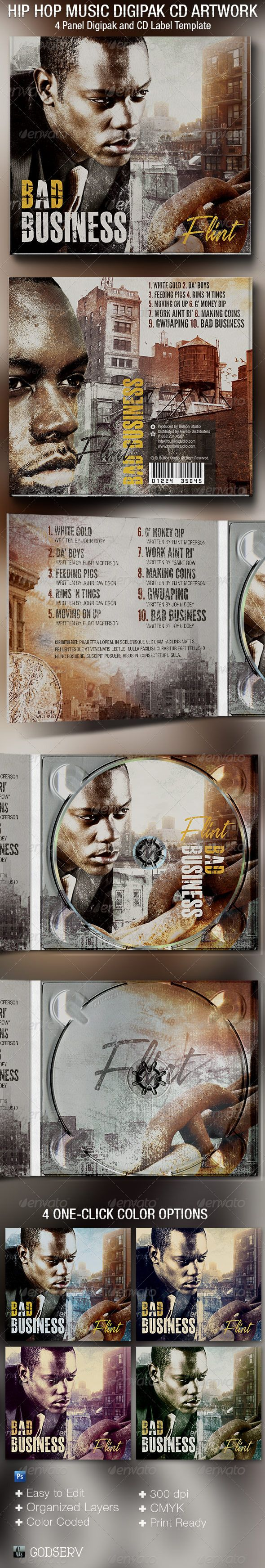 The Hip Hop 4 Panel Digipak CD Artwork Template is a digipak customized for the hip hop music industry, but can be used for any music or poetry recording artists that needs a urban rustic artwork. It can be used for albums, audio books, dj's mixes, iTunes sales, demos, and lots more. You can change colors easily by editing the included color options. $7.00