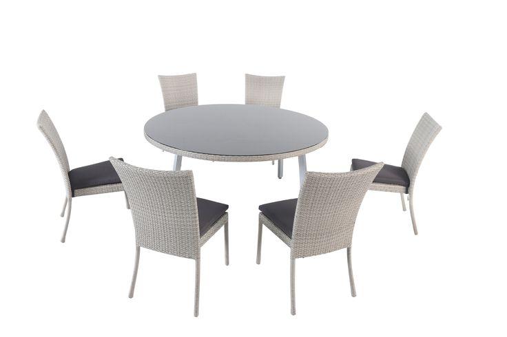 AKI+Bricolaje,+jardinería+y+decoración.+ Conjunto+de+comedor+de+jardín+KENIA+ Combina+una+amplia+mesa+redonda+hasta+con+8+sillas.+El+conjunto+tiene+un++acabado+en+ratán+sintético+trenzado+en+color+gris+jaspeado,+tablero+de+cristal+sobrepuesto+y+sillas+(apilables)+con+cojín+en+color+gris+oscuro.++  Las+patas+de+aluminio+de+la+mesa+en+color+plata+y++con+ruedas+niveladoras.  Las+referencias+del+conjunto+se+venden+por+separado.