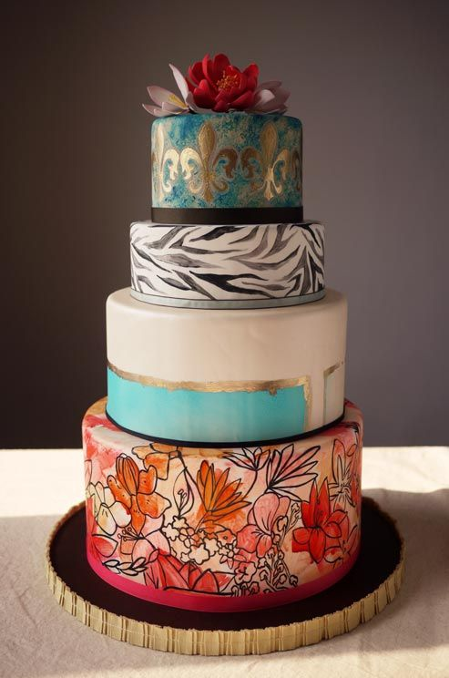 This meticulously detailed cake is a hand-painted with water-colored flowers