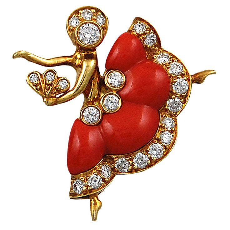 VAN CLEEF & ARPELS Diamond Coral Ballerina Pin. 18k Gold, Diamonds, Coral. France circa 2005s