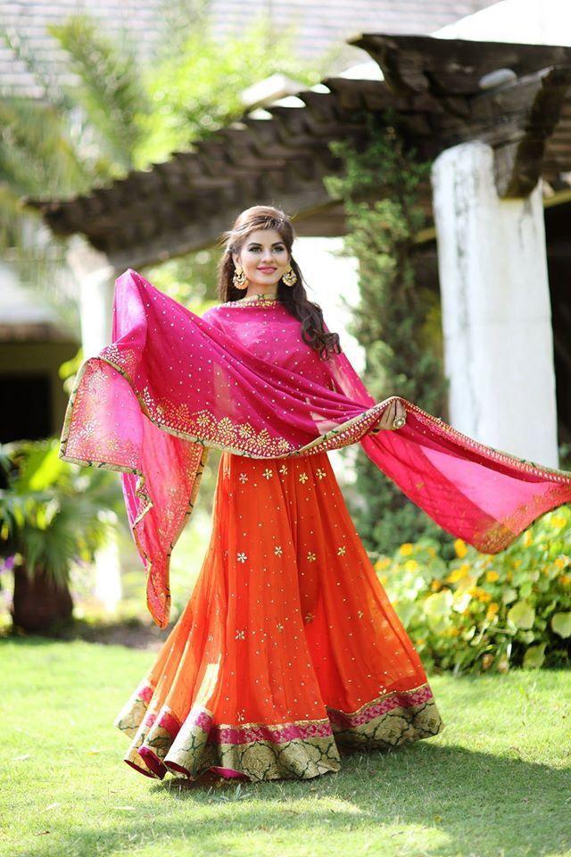 orange and pink lehenga