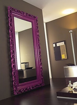 purple baroque mirror - My bedroom walls are going to be this color and this mirror would be the perfect accent I WANT WANT WANT,  The Frame to be in blk or white.