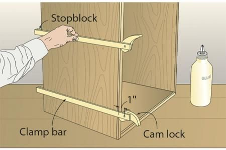 When facing the plywood edges of a chest, rather than wrestle with the glue, edging, and heavy clamps all at once, I decided to make a set of lightweight cam clamps from scrap I had on hand.