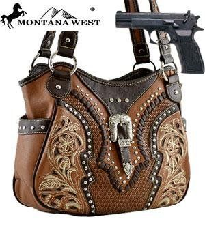 Amazon.com: Montana West Buckle Shoulder Bag (Concealed Carry Purse) HANDBAG - BROWN: Everything Else