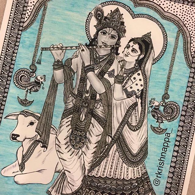 Radha Krishna .Same drawing from few months back , background color change - this is a print of the original. . . #potpourriofartists #theuncommonbox #hindugod #hindu #hinduism #hinduism_ #kalamkari #zenart #zentangle #zendoodles #radhakrishna #krishna #lordkrishna #inspiroindia #krishnaradhe #mandala #mandalas #mandalaart #prayer #meditation #rashmisartshop