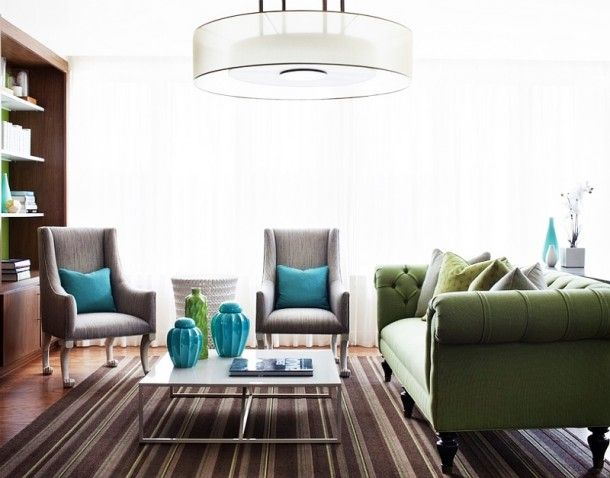 Furniture - Artistic Pops Of Green And Turquoise In The Living Room Displayed By Green Tufted Sofa Gray Chairs And Turquoise Pillows: Creative Sofa Design Ideas for Your Modern Living Room