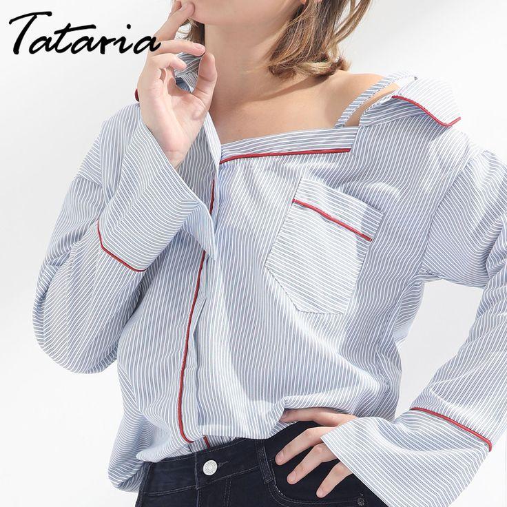 Women Striped Shirt Off Shoulder Female Clothing Blusas Mujer De Moda Long Sleeve Sex Tops Ladies Feminine Blouses Tataria #dress #fashion #zara #forever21 #hm #gap #f21 #lady #fashions #shopping #set #tuktafashion #fashiondress #woman #suckit88 #americanstyle #farang #hotgirls #adidas #plussizefashion #asiantomboy #thailandtomboy #tomboy #ems #tomboyasian #tomboythailand #tomdiiz #tomdy #shop #thailandfashion @bruceleetags…