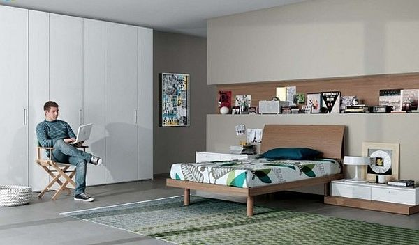 modern teenagers room - neutral colors furniture
