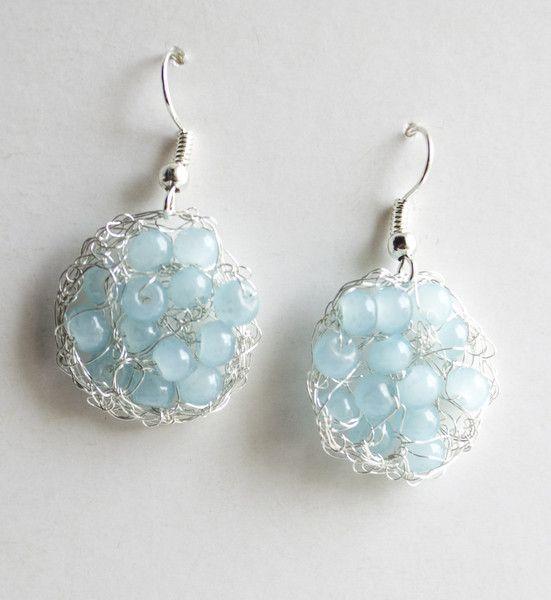 Wire+Crochet+Earrings+Dangle+Earring+turquoise++from+Unikacreazioni+by+DaWanda.com