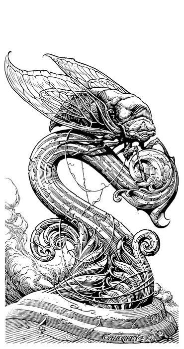 Aaron Horkey - penned illustration