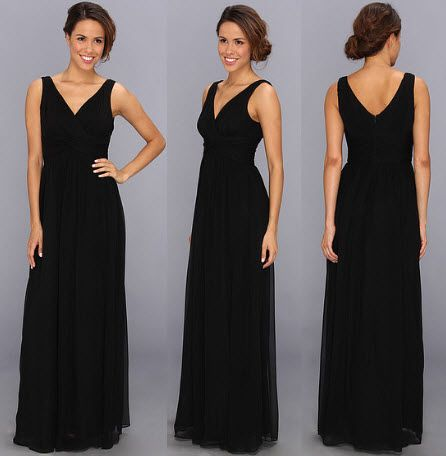 Rochie lunga neagra fara maneci de ocazie by Donna Morgan Julie Bra Friendly Long Gown