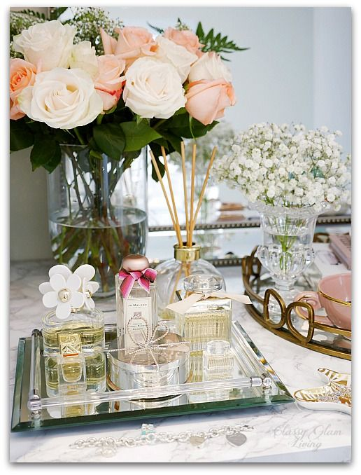 Adding Glam to Your Boudoir - a Blog Hop | vanity decor, vanity trays, tray styling, jewelry display, perfume display, glam vanity | Classy Glam Living