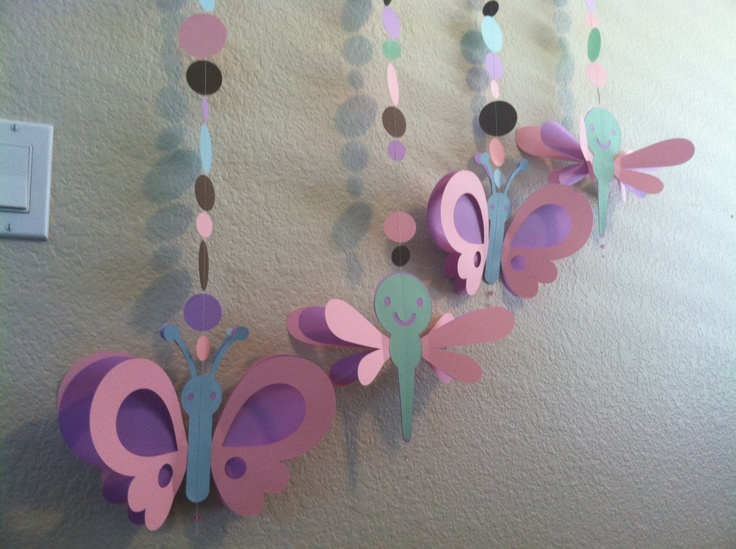 4 Butterfly dragonfly girl baby shower or birthday Party Hanging Decorations. $15.00, via Etsy.