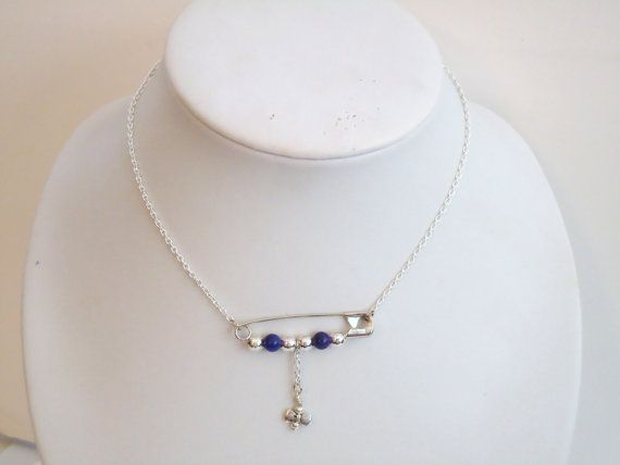 Safety Pin Necklace Purple Jewelry Bead Bar Jewellery by cdjali