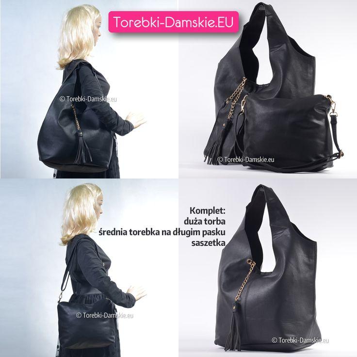 Nowy model - zestaw składający się z dużej torby, średniej wielkości torebki listonoszki oraz saszetki. Uniwersalny i zawsze modny kolor czarny