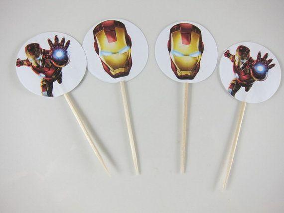 Conjunto de toppers Cupcake de hombre de hierro cupcake