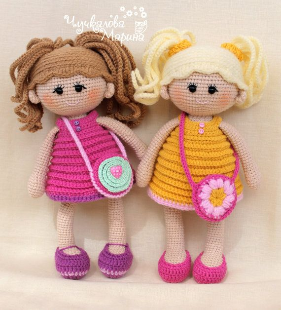 This pattern is available in English  Prices do not include VAT which may also be added to your purchase. VAT (Value Added Tax), a tax charged on most goods and services in the European Union  Let me introduce the cute doll Pumposhka!  The dolls Pamposhka are suitable for embrace, doll tea parties, travelling and other childrens games. The child will be comfortable with them, because their hair never become tangled, dresses do not move out to the side, the shoes do not jump off the legs…