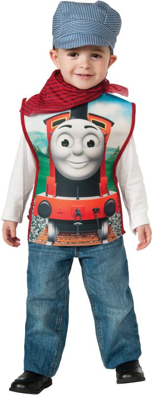 Thomas and Friends James Child Conductor Costume - James Train Conductor costume includes:  Foam Tunic  Scarf Eingeneers Hat  #thomas #conductor #james #toddler #infant #calgary #costume #yyc