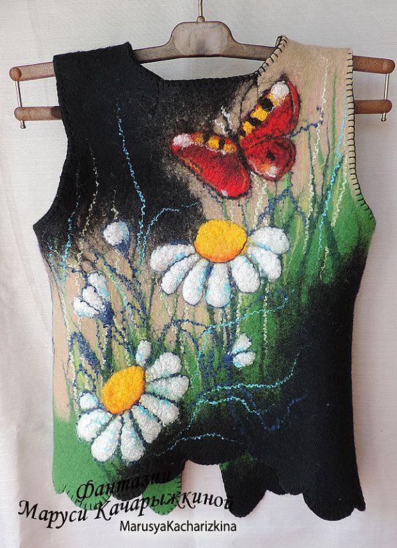 Handmade felted waistcoat Wool vest Woman от MarusyaKacharizkina