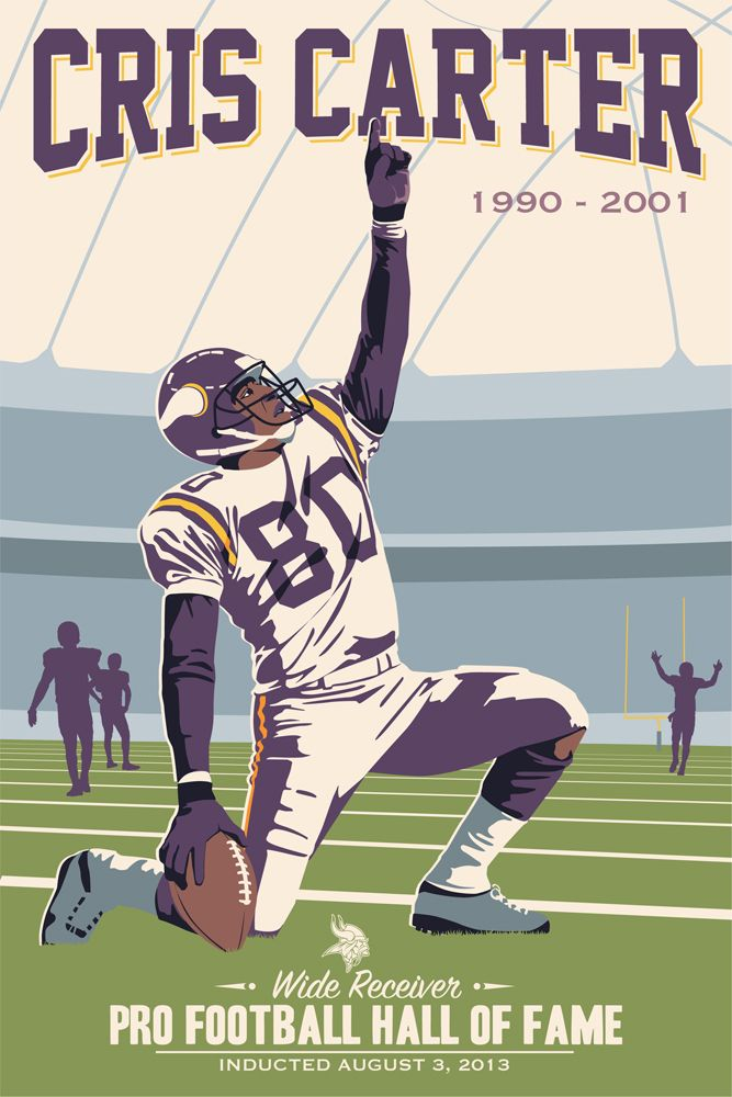 Cris Carter, Vikings poster artwork for the US Bank Stadium Collection by Steve Thomas.