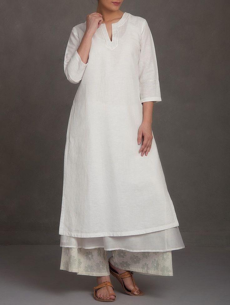 Buy White Embroidered V Neck Cotton Linen Chanderi Kurta Women Kurtas Saumya & Printed Apparel in More Online at Jaypore.com