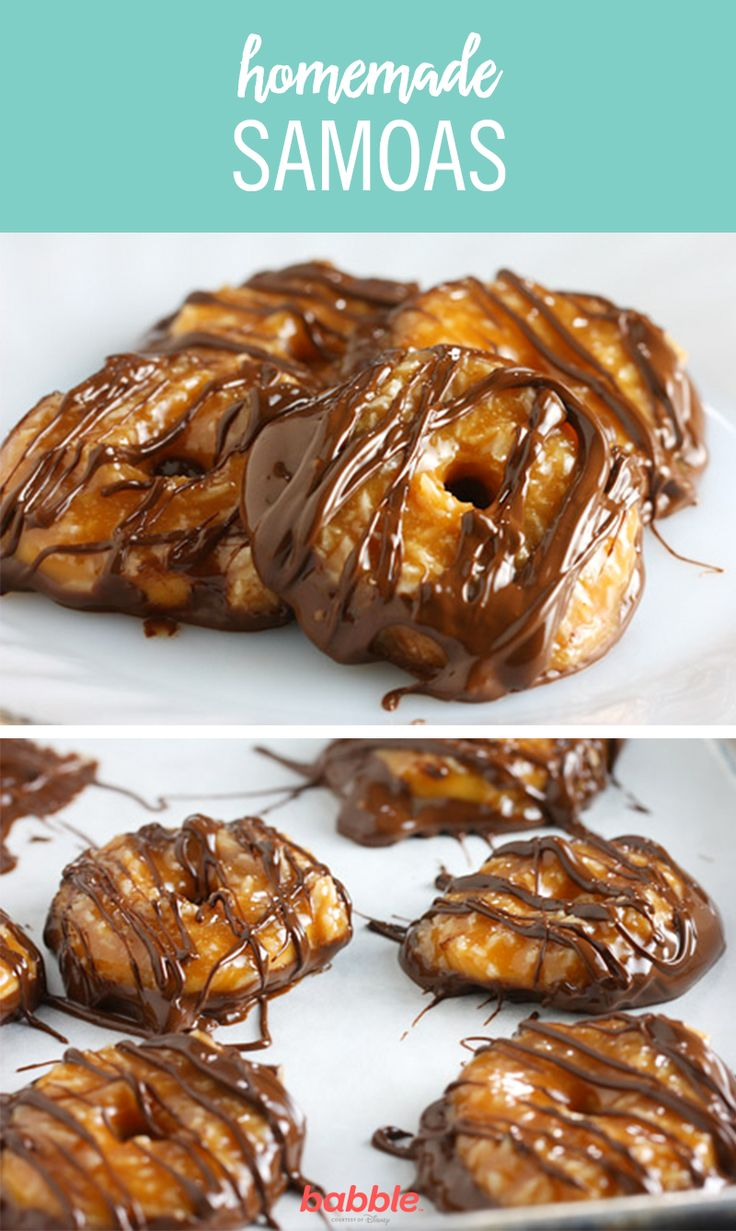 The problem with Samoas (or Caramel deLites), is that there aren't enough in the box. When you go to buy more, Girl Scout Cookie time is over. Here is a Homemade Samoas recipe that is easy to make and worth it! It'll allow you to enjoy these treats whenever you'd like, regardless of the time of year. Head over to your grocery store and grab a few ingredients, such as egg and flour, to get started!