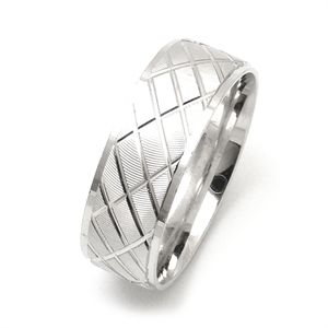 Morika Jewellery-Men's 8mm Sterling Silver Cross Check Facets over Diamond Cut Surface Pattern Wedding Ring
