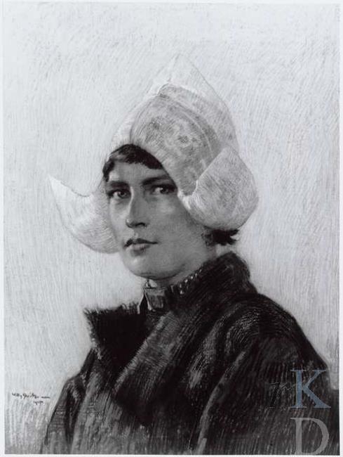 Willy Sluiter Portret van Hille Butter (1891-1968), 1915 gedateerd Glerum (Den Haag), 187 werkzaam in het Hotel Spaander te Volendam, waar talrijke kunstenaars logeerden; ze was een geliefd model en bevriend met vele kunstenaars