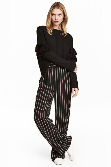 Wijde pull-on broek - Zwart/gestreept - DAMES | H&M NL