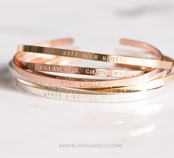 Personalized Cuff Bracelet - Mantra Bracelet - Dainty Thin Cuff - Bracelet with Inspirational Quotes